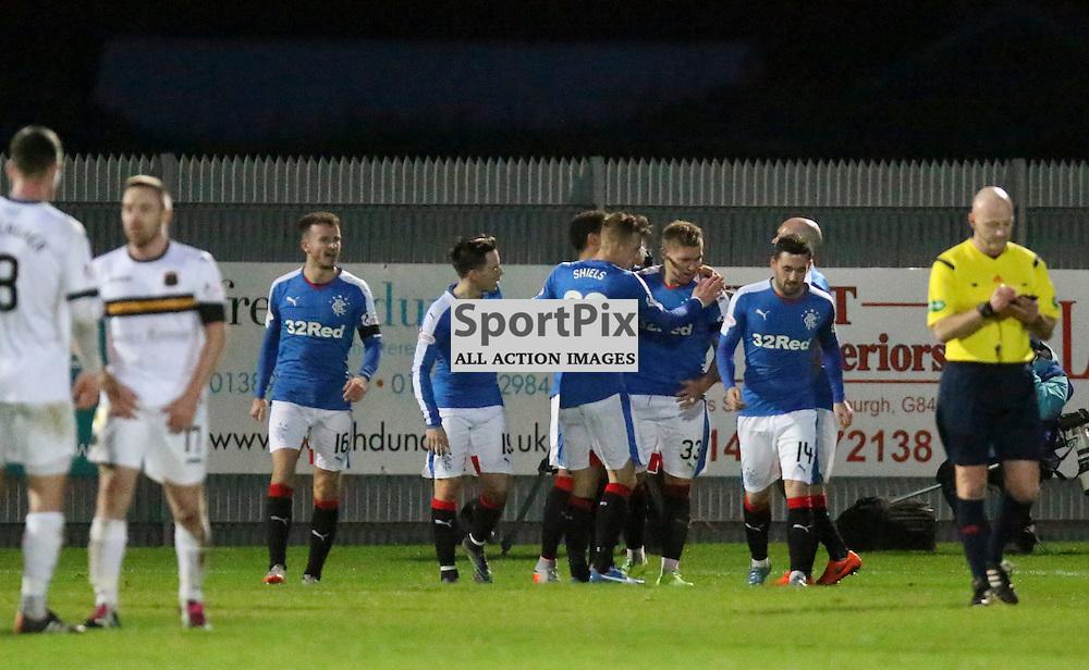 Martyn Waghorn Celebrates his goal during the Dumbarton v Rangers  Scottish Championship  02 January 2016<br /> <br /> (c) Andy Scott | SportPix.org.uk