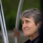 FLORIDA CITY, FLORIDA - APRIL 22, 2016<br /> Sally Jewell, United States Secretary of the Interior, aboard a U.S. Parks Service boat at the Everglades National Park before heading out to look at dying sea grass in the waters of the Everglades. <br /> (Photo by Angel Valentin)