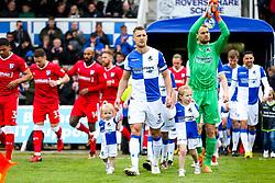 Departing Bristol Rovers legend Lee Brown leads out his side - Rogan/JMP - 28/04/2018 - FOOTBALL - Memorial Stadium - Bristol, England - Bristol Rovers v Gillingham - EFL Sky Bet League One.