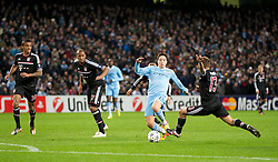 07.12.2011, City of Manchester Stadion, Manchester, ENG, UEFA CL, Gruppe A, Manchester City (ENG) vs FC Bayern München (GER), im Bild Manchester City's Samir Nasri in action against FC Bayern Munchen's Rafinha during the football match of UEFA Champions league, group A, between Manchester City (ENG) and FC Bayern München (GER), at City of Manchester Stadium, Manchester, United Kingdom on 07/12/201. EXPA Pictures © 2011, PhotoCredit: EXPA/ Propaganda/ David Rawcliff..***** ATTENTION - OUT OF ENG, GBR, UK *****