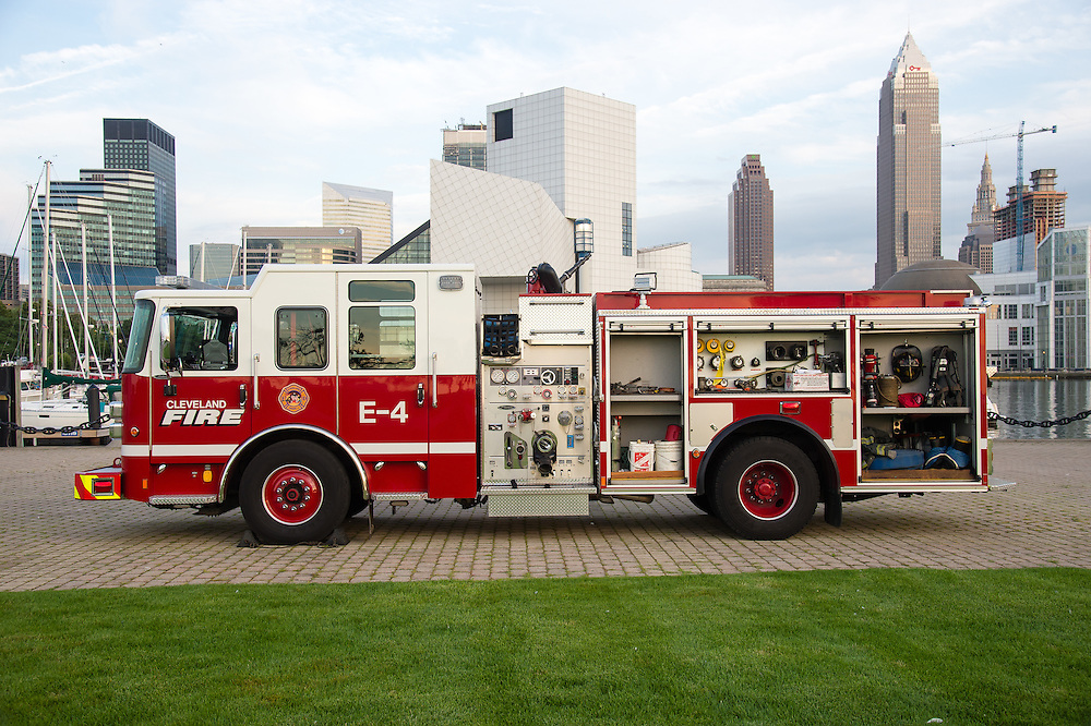 A Pierce Saber pumper truck at Voinovich Park in Cleveland, OH on Wednesday, July 22, 2015.