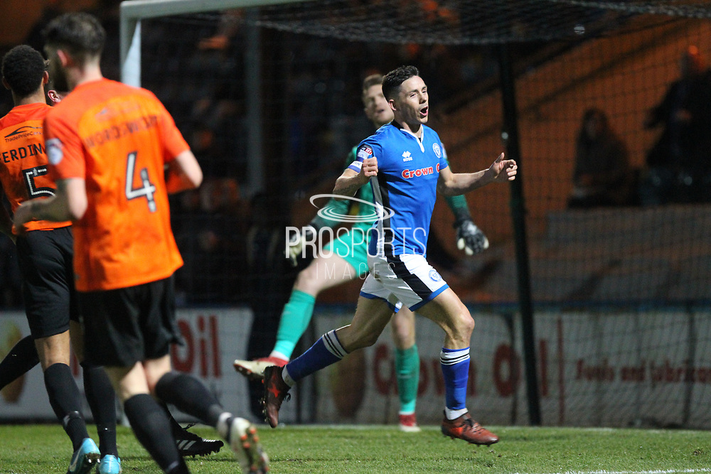 Ian Henderson missed chance during the EFL Sky Bet League 1 match between Rochdale and Southend United at Spotland, Rochdale, England on 13 March 2018. Picture by Daniel Youngs.