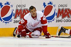 Nov 17, 2011; San Jose, CA, USA; Detroit Red Wings center Henrik Zetterberg (40) warms up before the game against the San Jose Sharks at HP Pavilion. San Jose defeated Detroit 5-2. Mandatory Credit: Jason O. Watson-US PRESSWIRE