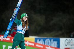 Third placed Juliane Seyfarth of Germany celebrates at trophy ceremony during Day 3 of World Cup Ski Jumping Ladies Ljubno 2019, on February 10, 2019 in Ljubno ob Savinji, Slovenia. Photo by Matic Ritonja / Sportida