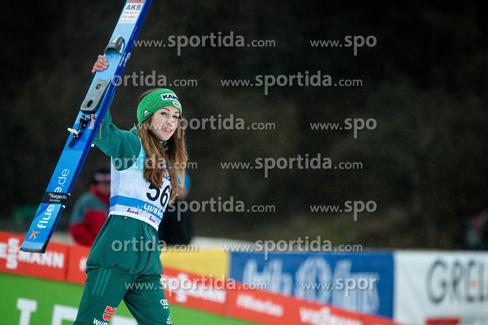 Third placed Juliane Seyfarth of Germany celebrates at trophy ceremony during Day 3 of World Cup Ski Jumping Ladies Ljubno 2019, on February 10, 2019 in Ljubno ob Savinji, Slovenia. Photo by Matic Ritonja / Sportida