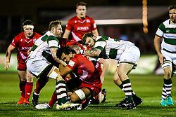 Steve Luatua of Bristol Rugby is tackled - Rogan/JMP - 10/02/2018 - RUGBY UNION - Trailfinders Sports Ground - Ealing Trailfinders v Bristol Rugby - Greene King IPA Championship.