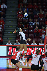 13 October 2011: Leighann Hranka during an NCAA volleyball match between the Indiana State Sycamores and the Illinois State Redbirds at Redbird Arena in Normal Illinois.