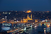 City scene Yeni Camii great mosque by Golden Horn of Bosphorus River, Topkapi Palace, Hagia Sophia Istanbul, Republic of Turkey