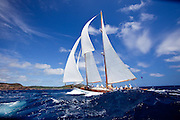 Heron sailing in the 2010 Antigua Classic Yacht Regatta, Windward Race, day 4.
