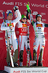19.12.2011, Gran Risa, Alta Badia, ITA, FIS Weltcup Ski Alpin, Herren, Slalom Podium, im Bild v.l.n.r Giuliano Razzoli (ITA, Rang 2), Marcel Hirscher (AUT, Rang 1) und Felix Neureuther (GER, Rang 3) // f.l.t.r. second place Giuliano Razzoli of Italy, first place Marcel Hirscher of Austria and dirt place Felix Neureuther of Germany on Podium during men's Slalom 2nd run at FIS Ski Alpine Worldcup at Gran Risa in Alta Badia, Italy on 2011/12/19. EXPA Pictures © 2011, PhotoCredit: EXPA/ Johann Groder