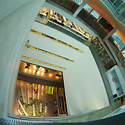 Viewed from the highest public observation point, the central atrium forms an open air core of this amazing building.