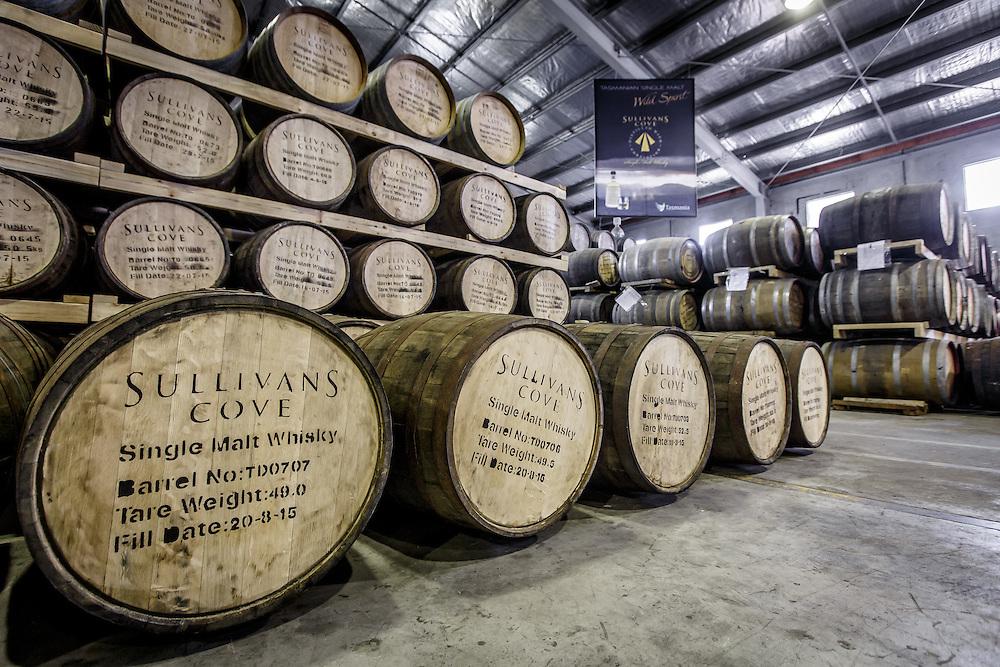 Barrels of Sullivan's Cove whisky at Tasmania Distillery in Hobart, Tasmania, August 25, 2015. Gary He/DRAMBOX MEDIA LIBRARY