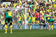 The Norwich players look dejected after conceding what turns out to be the winning goal during the Barclays Premier League match at Carrow Road, Norwich<br /> Picture by Paul Chesterton/Focus Images Ltd +44 7904 640267<br /> 07/05/2016
