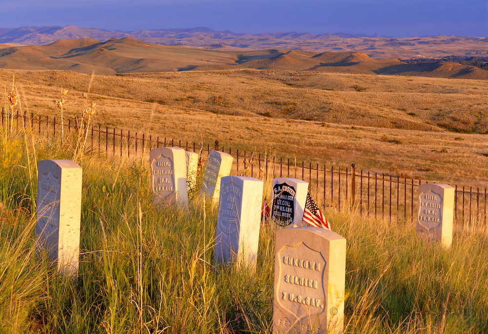 1100-1000 ~ Copyright: George H.H. Huey ~ Memorial markers on Last Stand Hill [Including Lt. Col. George Armstrong Custer's] where the U.S. 7th Cavalry was defeated June 25, 1876 by Lakota, Cheyenne and Arapaho Indians.  Little Bighorn Battlefield National Monument, Montana.