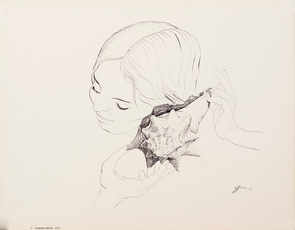 Cat. #10 - Lithographic print of Pen and Ink drawing of a young woman with sea shell held to her ear. This print is printed on smooth, heavy weight stock.<br /> Paper size is 13 x 10 1/4&quot;. Image size is approximately 8 x 8 1/2&quot; <br /> Cat. #10 - Impresi&oacute;n litogr&aacute;fica de un dibujo a plumilla de una muchacha con un caracol en su oido. Impresa en papel grueso y liso.<br /> Tama&ntilde;o del papel es13 x 10 1/4&quot;. Tama&ntilde;o de la imagen es aproximadamente 8 x 8 1/2&quot;