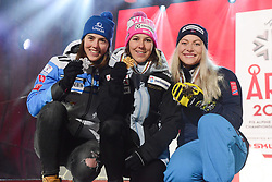 February 8, 2019 - Are, Sweden - PETRA VLHOVA of Slovakia (left, 2nd place) , WENDY HOLDENER of Switzerland (center, winner) and RAGNHILD MOWINCKEL of Norway (right, 3rd place)with their medals from the Ladies Alpine Combined ski race at the FIS Alpine World Ski Championships in Are Sweden. (Credit Image: © Christopher Levy/ZUMA Wire)