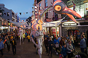 20/07/2018 repro free: Magical, hypnotic and full of surprises, Birdmen roam the streets of Galway as part of Galway International Arts Festival. Close Act from the Netherlands bring their illuminated stilt-walking pterodactyl creatures to Galway this afternoon and this evening, Sunday July 22 at 2, 4 and 6pm. The 41st Galway International Arts Festival is now on with over 200 events running until July 29. See www.giaf.ie for full details.<br /> <br /> Pictures: Andrew Downes/Xposure