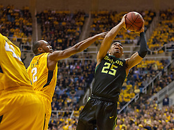 Feb 6, 2016; Morgantown, WV, USA; Baylor Bears guard Al Freeman (25) shoots in the lane during the first half against the West Virginia Mountaineers at the WVU Coliseum. Mandatory Credit: Ben Queen-USA TODAY Sports