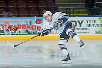 KELOWNA, CANADA - OCTOBER 26: Regan Nagy #24 of the Victoria Royals warms up with a shot on net against the Kelowna Rockets on October 26, 2016 at Prospera Place in Kelowna, British Columbia, Canada.  (Photo by Marissa Baecker/Shoot the Breeze)  *** Local Caption ***