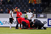 SOLNA, SWEDEN - MARCH 13: Michael Omoh of Orebro SK is shown a red card by Kristoffer Karlsson, referee, during the Swedish Cup Quarterfinal between AIK and Orebro SK at Friends arena on March 13, 2018 in Solna, Sweden. Photo by Nils Petter Nilsson/Ombrello<br /> ***BETALBILD***