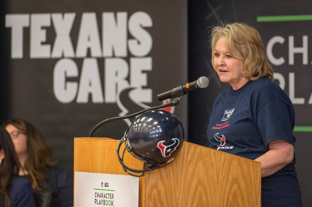 United Way VP Lynne Cook comments during the Houston launch of the Character Playbook, a joint initiative of the NFL and the United Way Worldwide at Pilgrim Academy, February 3, 2017.