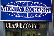 Money Exchange change money signs, London, England