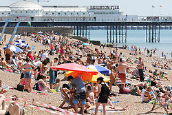 © Licensed to London News Pictures. 22/07/2014. Brighton, UK. People relaxing and sunbathing during lunchtime on Brighton beach. The weather is expected to reach temperatures around the 26C in Brighton and the South Coast. Photo credit : Hugo Michiels/LNP