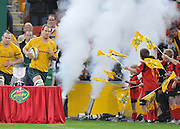 Rocky Elsom leads Australia onto Suncorp Stadium during action from the Rugby Union Test Match played between Australia and Ireland at Suncorp Stadium (Brisbane) on Saturday 26th June 2010 ~ Australia (22) defeated Ireland (15) ~ © Image Aura Images.com.au ~ Conditions of Use: This image is intended for Editorial use as news and commentry in print, electronic and online media ~ Required Image Credit : Steven Hight (AURA Images)For any alternative use please contact AURA Images