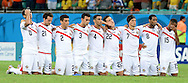 The players of Costa Rica on their knees during the penalty shoot out during the 2014 FIFA World Cup match at the Itaipava Arena Fonte Nova, Nazare, Bahia<br /> Picture by Stefano Gnech/Focus Images Ltd +39 333 1641678<br /> 05/07/2014