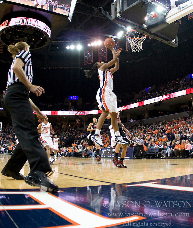 Virginia guard Monica Wright (22) shoots against Maryland.  The Virginia Cavaliers women's basketball team fell to the #4 ranked Maryland Terrapins 74-62 at the John Paul Jones Arena in Charlottesville, VA on January 18, 2008.