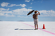 Image of a spectator enjoying World of Speed at the Bonneville Salt Flats, Utah, American Southwest