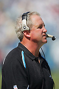 CHARLOTTE, NC - SEPTEMBER 18:  Head Coach John Fox of the Carolina Panthers looks at the scoreboard in the game against the New England Patriots at Bank of America Stadium on September 18, 2005 in Charlotte, North Carolina. The Panthers defeated the Patriots 27-17. ©Paul Anthony Spinelli *** Local Caption *** John Fox