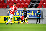 KALMAR, SWEDEN - APRIL 18: Papa Diouf of Kalmar FF and Dennis Widgren of Ostersunds FK during the Allsvenskan match between Kalmar FF and Ostersunds FK at Guldfageln Arena on April 18, 2018 in Kalmar, Sweden. Photo by Jonas Gustafsson/Ombrello ***BETALBILD***