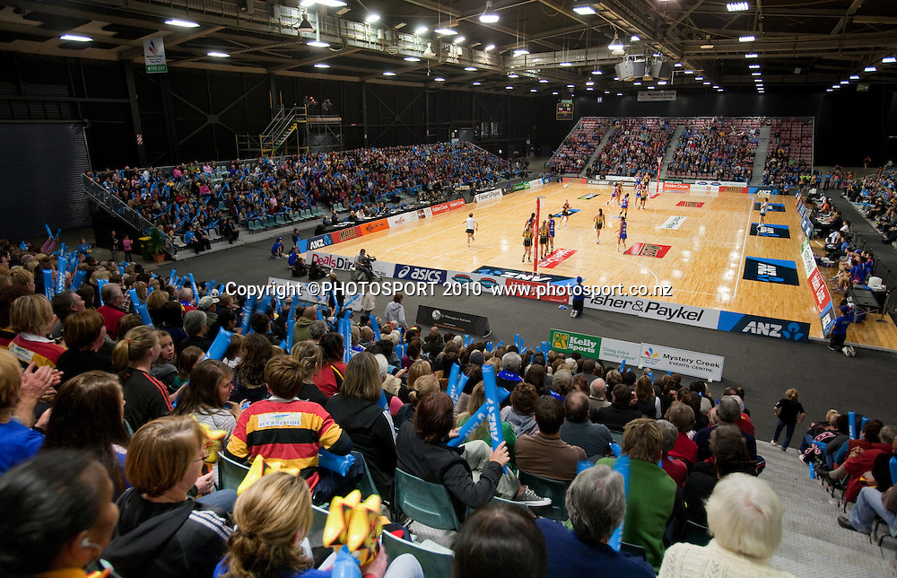 General view from the crowd during the ANZ Netball Champs, Magic v Mystics, won 49-46 by Magic, Monday 3 May 2010, Mystery Creek Events Centre, Hamilton, New Zealand. Photo: Stephen Barker/PHOTOSPORT