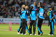 Moeen Ali of Worcestershire Rapids celebrates getting Samit Patel of Nottinghamshire Outlaws caught out during the Vitality T20 Blast North Group match between Nottinghamshire County Cricket Club and Worcestershire County Cricket Club at Trent Bridge, West Bridgford, United Kingdon on 18 July 2019.