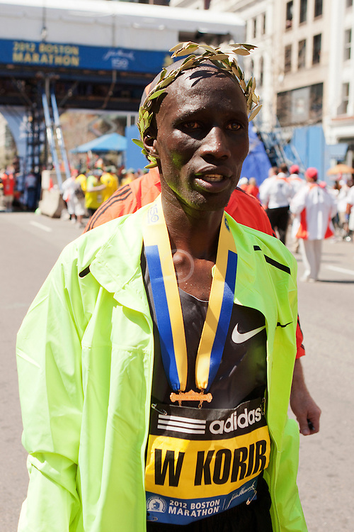 Wesley Korir, Kenya, after winning Boston Marathon