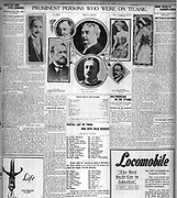 Page from the 'Baltimore American' reporting on casualties from the sinking of the Titanic 1912
