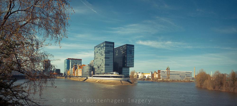 Panoramablick Medienhafen Düsseldorf, Düsseldorf, Deutschland