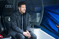 Atletico de Madrid coach Diego Simeone during La Liga match between Real Madrid and Atletico de Madrid at Santiago Bernabeu Stadium in Madrid, Spain. April 08, 2018. (ALTERPHOTOS/Borja B.Hojas)