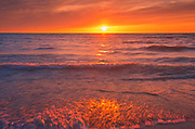 Sandy beach on Lake Huron at sunset<br />