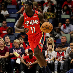 Oct 19, 2018; New Orleans, LA, USA; New Orleans Pelicans guard Jrue Holiday (11) against the Sacramento Kings during the first half at the Smoothie King Center. The Pelicans defeated the Kings 149-129. Mandatory Credit: Derick E. Hingle-USA TODAY Sports