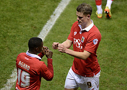 Bristol City's Matt Smith comes off for Bristol City's Kieran Agard - Photo mandatory by-line: Alex James/JMP - Mobile: 07966 386802 - 29/01/2015 - SPORT - Football - Bristol - Ashton Gate - Bristol City v Gillingham - Johnstone Paint Trophy Southern area final