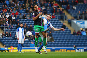 Bristol City midfielder, Korey Smith (7) challenged during the Sky Bet Championship match between Blackburn Rovers and Bristol City at Ewood Park, Blackburn, England on 23 April 2016. Photo by Pete Burns.