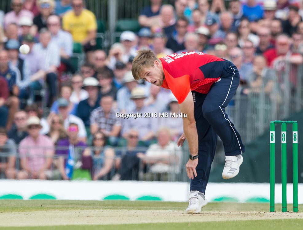 EDINBURGH, SCOTLAND - JUNE 10: David Willey bowls during the first innings of the one-off ODI at the Grange Cricket Club on June 10, 2018 in Edinburgh, Scotland. (Photo by MB Media/Getty Images)