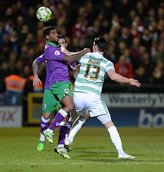 Bristol City's Karleigh Osborne wins the ball. - Photo mandatory by-line: Alex James/JMP - Mobile: 07966 386802 - 10/03/2015 - SPORT - Football - Yeovil - Huish Park - Yeovil Town v Bristol City - Sky Bet League One