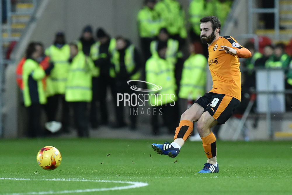 Wolverhampton Wanderers midfielder Jack Price crosses ball during the Sky Bet Championship match between Rotherham United and Wolverhampton Wanderers at the New York Stadium, Rotherham, England on 5 December 2015. Photo by Ian Lyall.