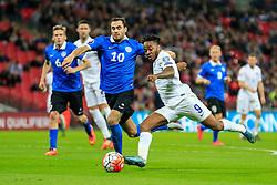 Raheem Sterling of England shoots - Mandatory byline: Jason Brown/JMP - 07966 386802 - 09/10/2015- FOOTBALL - Wembley Stadium - London, England - England v Estonia - Euro 2016 Qualifying - Group E