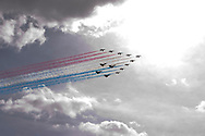 Copyright by Stefan Reimschuessel.<br /> All Rights reserved. No use without prior agreement and authorization..<br /> Tel: +44-7956-963749.<br /> email: reimstergmailcom.<br /> 13 jets of the Red Arrows, including 4 new Typhoon Eurofighters fly past Tower Bridge in London in a one off flypast at 1pm to mark the 90th anniversary of the Royal Air Force today.