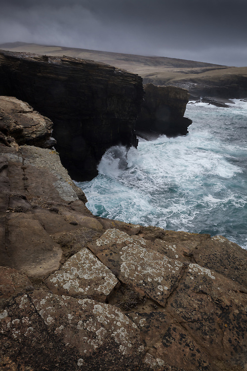 Stormy sea's over Yesnaby on the west coast of Orkney