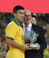 Massimo Luongo of Australia collects the award for player of the tournament during the AFC Asian Cup match at Stadium Australia, Sydney<br /> Picture by Steven Gibson/Focus Images Ltd +61 413 768835<br /> 31/01/2015
